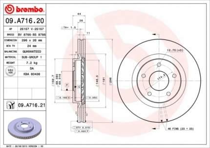 Тормозной диск brembo 09A71620