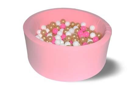 Сухой игровой бассейн Розовое золото 40см с 200 шарами: розовый, белый, золотой