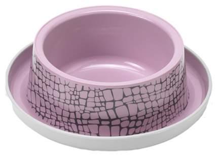 Одинарная миска для кошек MODERNA, пластик, силикон, розовый, 0.35 л