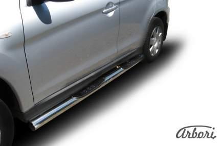 Защита порогов d76 с проступями Arbori нерж. сталь для Mitsubishi ASX 2015-2018
