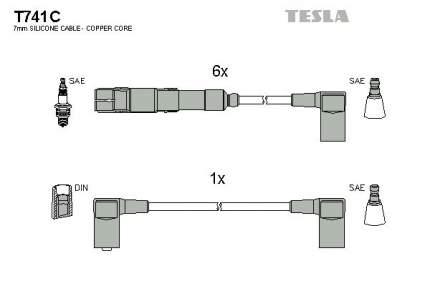 Комплект проводов зажигания TESLA T741C
