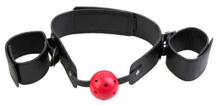 Кляп-шар Pipedream Breathable Ball Gag Restraint с наручниками красный