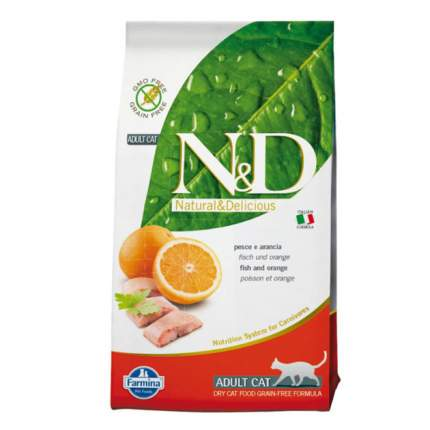 Сухой корм для кошек Farmina N&D, рыба и апельсин, 7кг