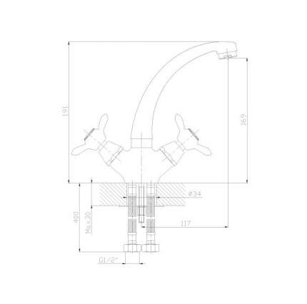 Смеситель для кухонной мойки Rossinka Silvermix Q02-64 хром