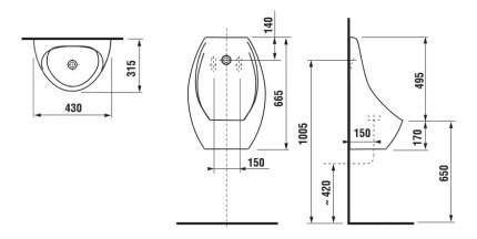 Писсуар JIKA Domino без сенсора с отв.д/рас белый (8.4110.1.000.000.1)