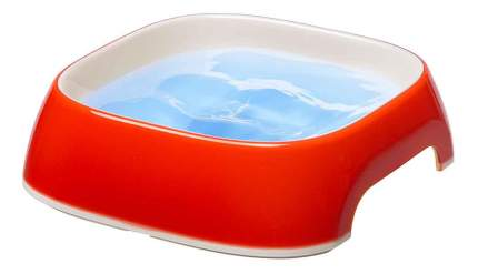 Одинарная миска для кошек и собак Ferplast, пластик, резина, красный, 0.2 л