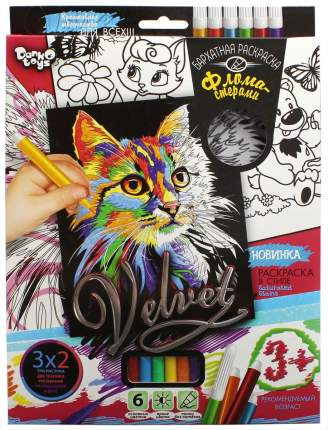Бархатная раскраска фломастерами Danko Toys Кошечка 1 Velvet VLV-01-03