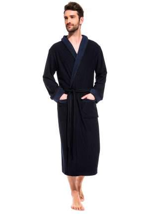 Мужской облегченный махровый халат из бамбука Peche Monnaie 419, синий, 3XL