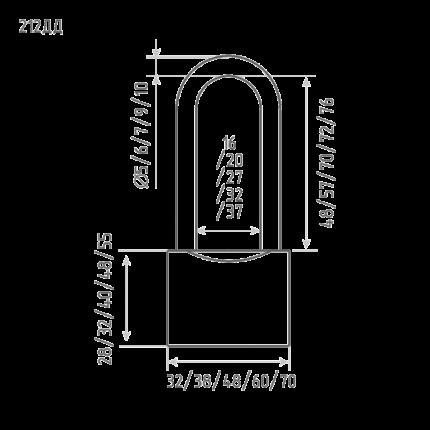 Замок навесной ЗН-212дд-60 мм (3кл.) (шт.) Нора-М