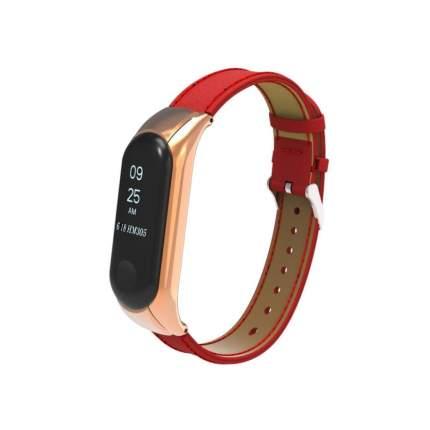 Ремешок кожаный для Mi Band 3 Leather Strap Red