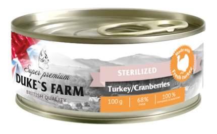 Консервы для кошек DUKE'S FARM Sterilised, для стерилизованных, индейка, клюква, 100г