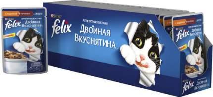 Влажный корм для кошек Felix Двойная вкуснятина, индейка, печень, 85г