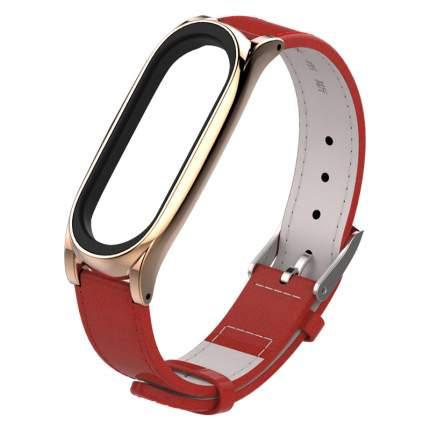 Ремешок кожаный Mijobs Leather Strap PLUS для Mi Band 3/4 Red-Rose Gold MP47