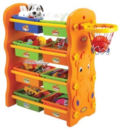EDU PLAY Стеллаж 3в1 для игрушек с ящиками+баскетбольное кольцо (84х436h см) KU-1701