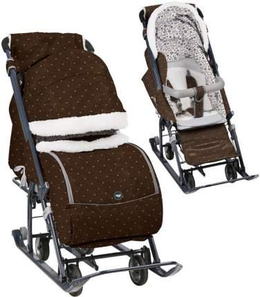 Санки-коляска Ника детям 7-1Б шоколадные в горошек