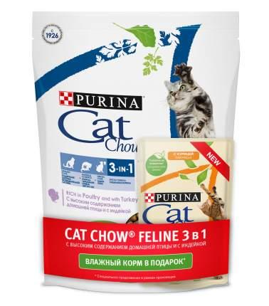 Сухой корм для кошек Cat Chow 3-in-1, индейка, 0,4кг + влажный с курицей и кабачком, 85г