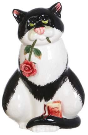 Статуэтка Lefard Кошка с цветком 59-186 Белый, черный