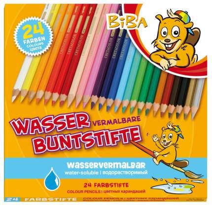 CretacoloR Акварельные карандаши BIBA с толстым стержнем, 24 цвета