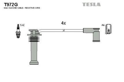 Комплект проводов зажигания TESLA T972G