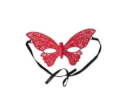 Маска White Label Бабочка 22,5 см красный