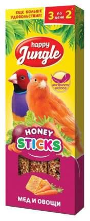 Лакомство для канареек и экзотических птиц Happy Jungle, палочки с медом и овощами, 3 шт