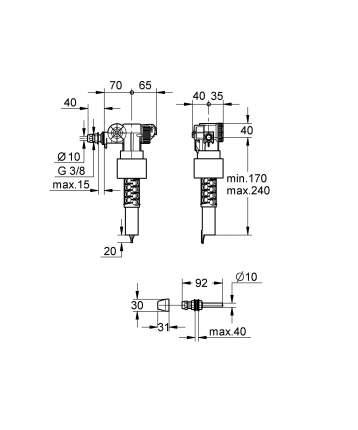 Наполнительный клапан смыва GROHE с компенсатором смещения