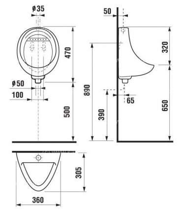 Писсуар JIKA Korint б/сенсора с сифоном (8.4410.0.000.440.1) белый