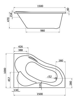 Акриловая ванна Santek Ибица 150х100 без гидромассажа правая