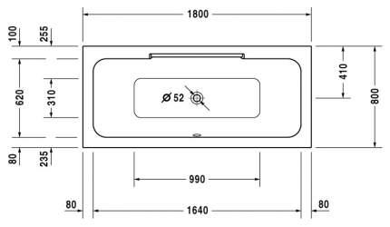 Акриловая ванна Duravit 180х80 без гидромассажа