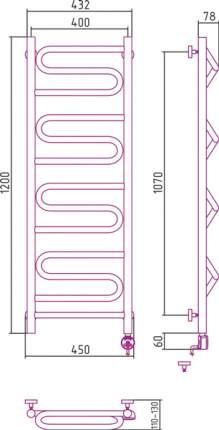 Полотенцесушитель электрический Элегия 1200х400 правый Сунержа