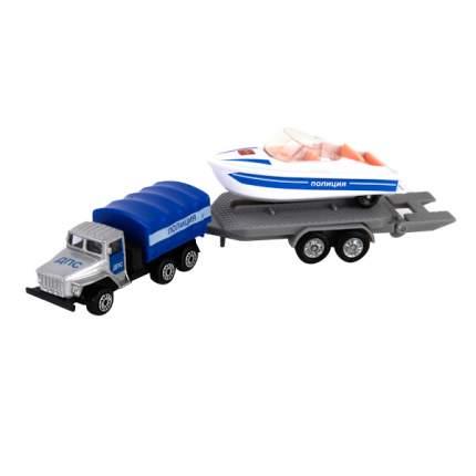 Игровой набор Технопарк УРАЛ с лодкой на прицепе Полиция