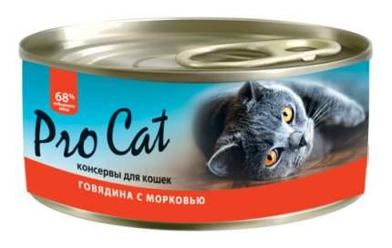 Консервы для кошек Pro Cat, говядина, морковь, 100г