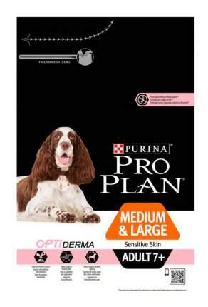 Сухой корм для собак PRO PLAN OptiDerma Medium & Large Adult 7+, для пожилых, лосось, 3кг