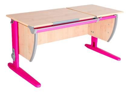 Парта Дэми Классик 120 см двойная столешница клен/розовая