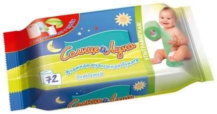 Туалетная бумага Aura Солнце и Луна влажная для детей 72 шт.