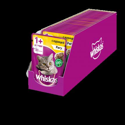 Влажный корм для кошек Whiskas рагус курицей, 24 шт по 85г