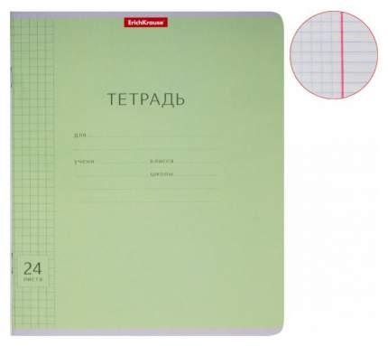 Тетрадь ученическая 24 листа Клетка Классика с линовкой зеленая