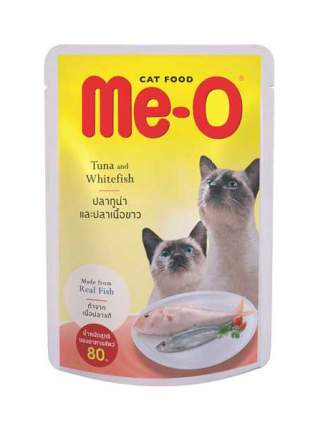 Влажный корм для кошек Me-O Adult, тунец и белая рыба в желе, 80г