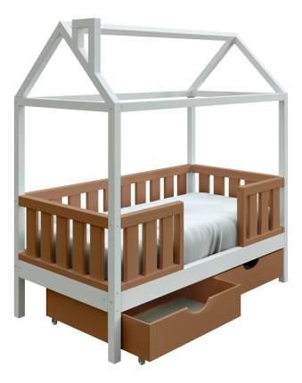Кровать-домик Трурум KidS Сказка широкий бортик, ящики кофейно-белая