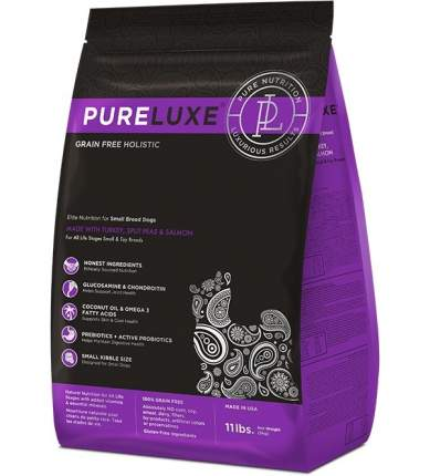Сухой корм для собак PureLuxe, для мелких пород, индейка, лосось и горошек, 1,81кг