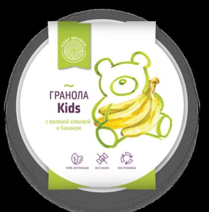 Гранола Fastbrunch с вяленой клюквой и бананом Kids в биоразлагаемой тарелке 80 г