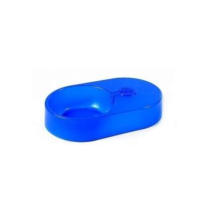 Миска-автопоилка для животных Вака, без бутылки, пластик, синяя, 28x17x5 см