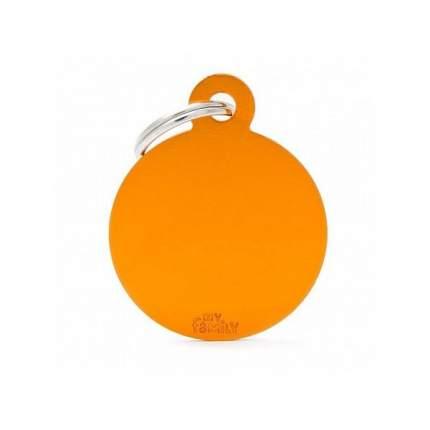 Адресник My Family Basic алюминиевый круглый для животных (2,5 см, Оранжевый)