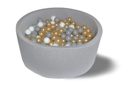 Сухой игровой бассейн Брызги с золотом 40см с 200 шарами: серый, белый, золотой