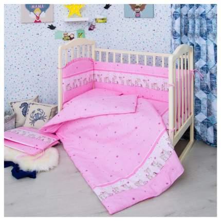 Детское постельное белье Сонный Гномик Оленята розовый