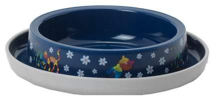 Одинарная миска для кошек MODERNA, пластик, синий, 0.21 л
