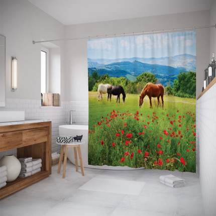 Штора для ванной JoyArty «Кони на пастбище» 180x200