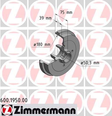 Тормозной барабан ZIMMERMANN 600.1950.00