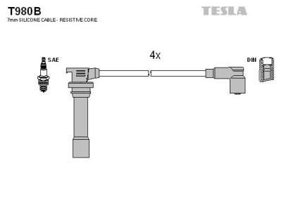 Комплект проводов зажигания TESLA T980B