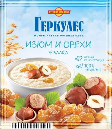 Каша овсяная моментальная Геркулес Русский продукт с изюмом и орехами 4 злака 40 г